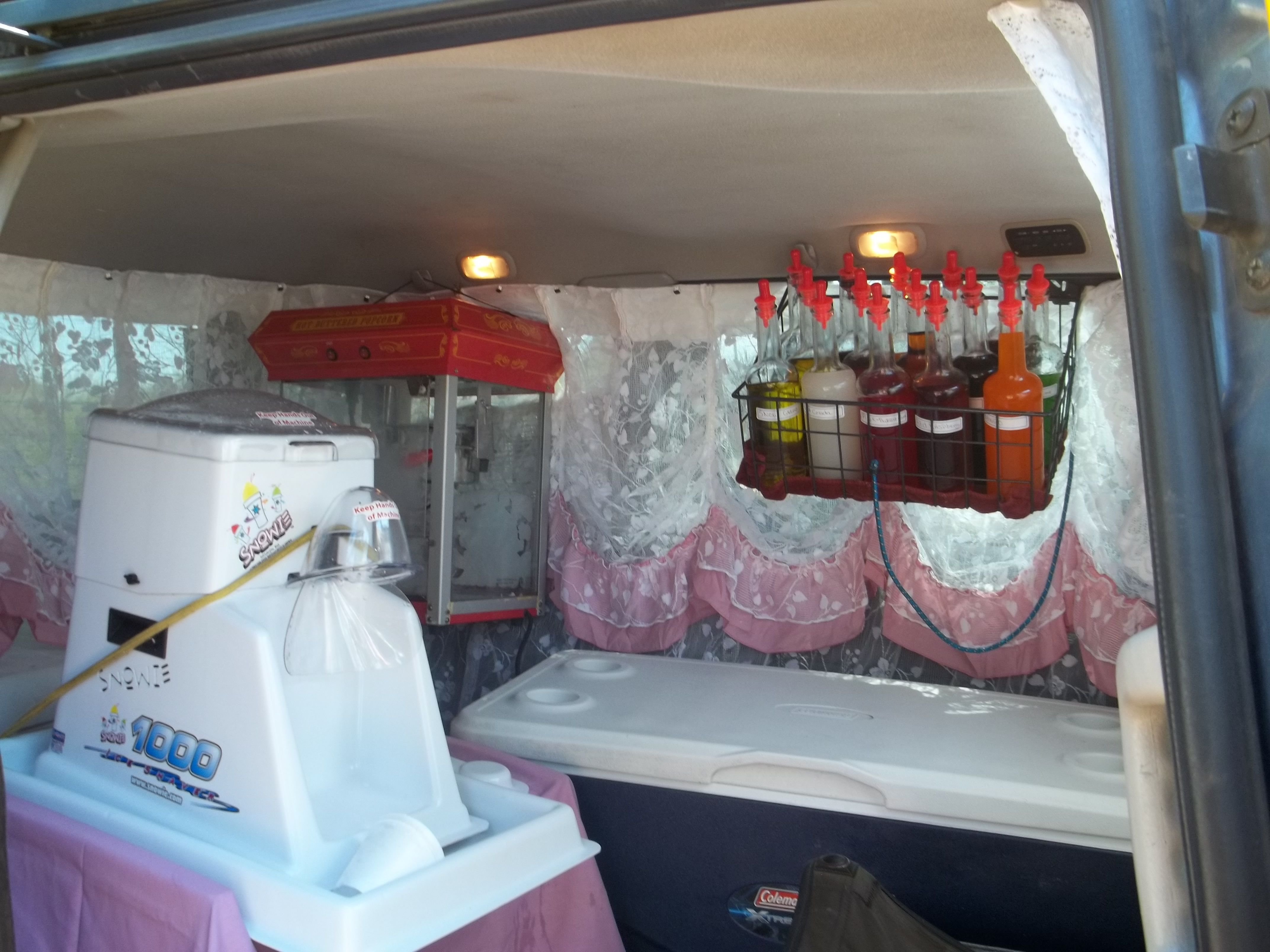 Heres A Peek Inside Our Little Snow Cone Van We Only Serve Real Fresh Powdered Snow Shaved Ice Not That Hard Snow Cones Snow Cone Stand Snow Cone Machine