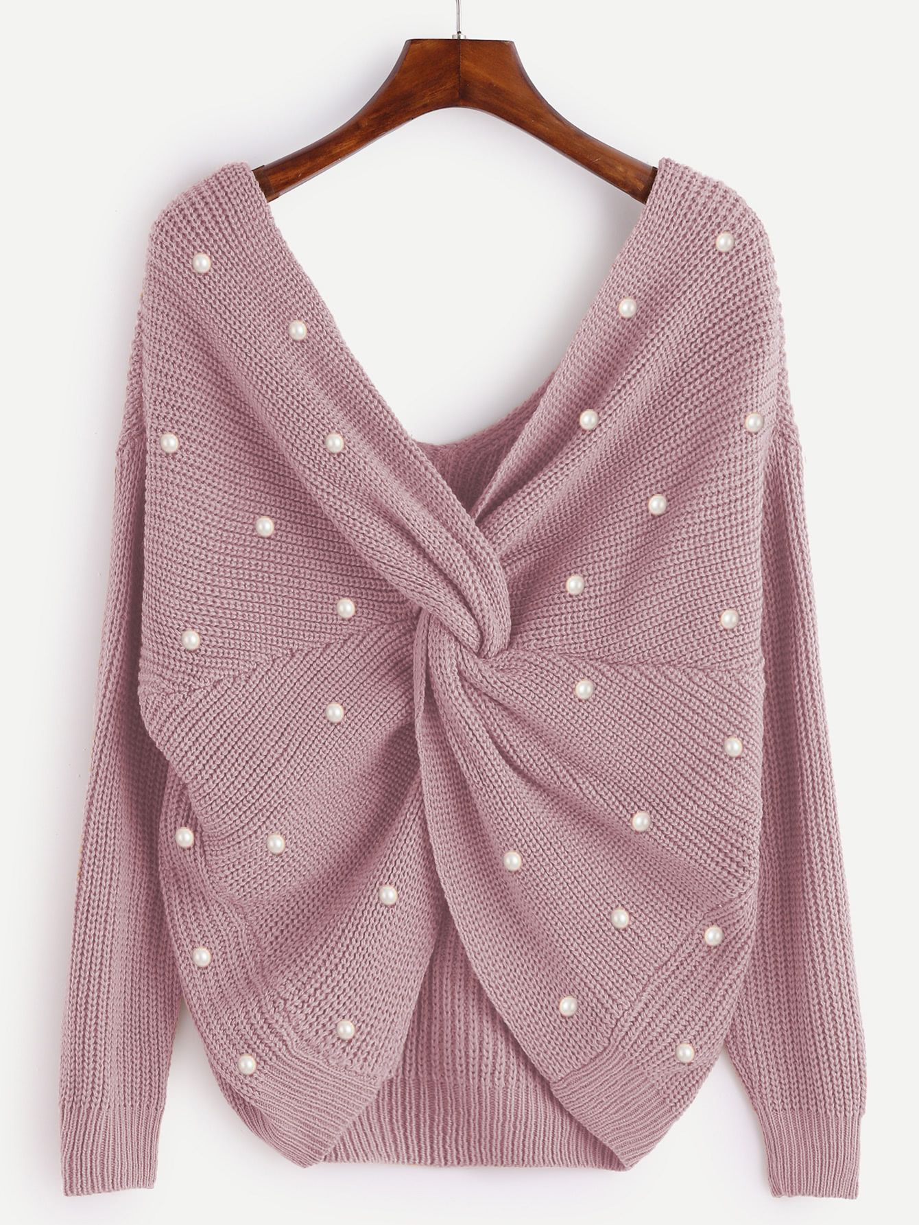 81dfc33469 Shop Pearl Beading Twist Infinity Sweater online. SheIn offers Pearl Beading  Twist Infinity Sweater   more to fit your fashionable needs.