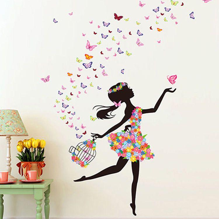 Personalised Ballerina Wall Stickers Ballet Dancer Girls Decals Murals Transfers