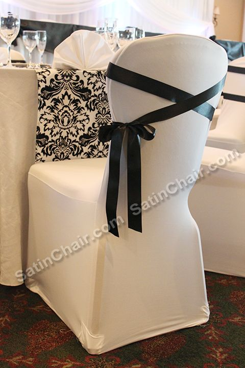 Voila Ribbon Stripes On Chair Covers We Have The Chair Cover Rentals Just For You Chair Cover Rentals Hanging Chair From Ceiling Chair Decorations