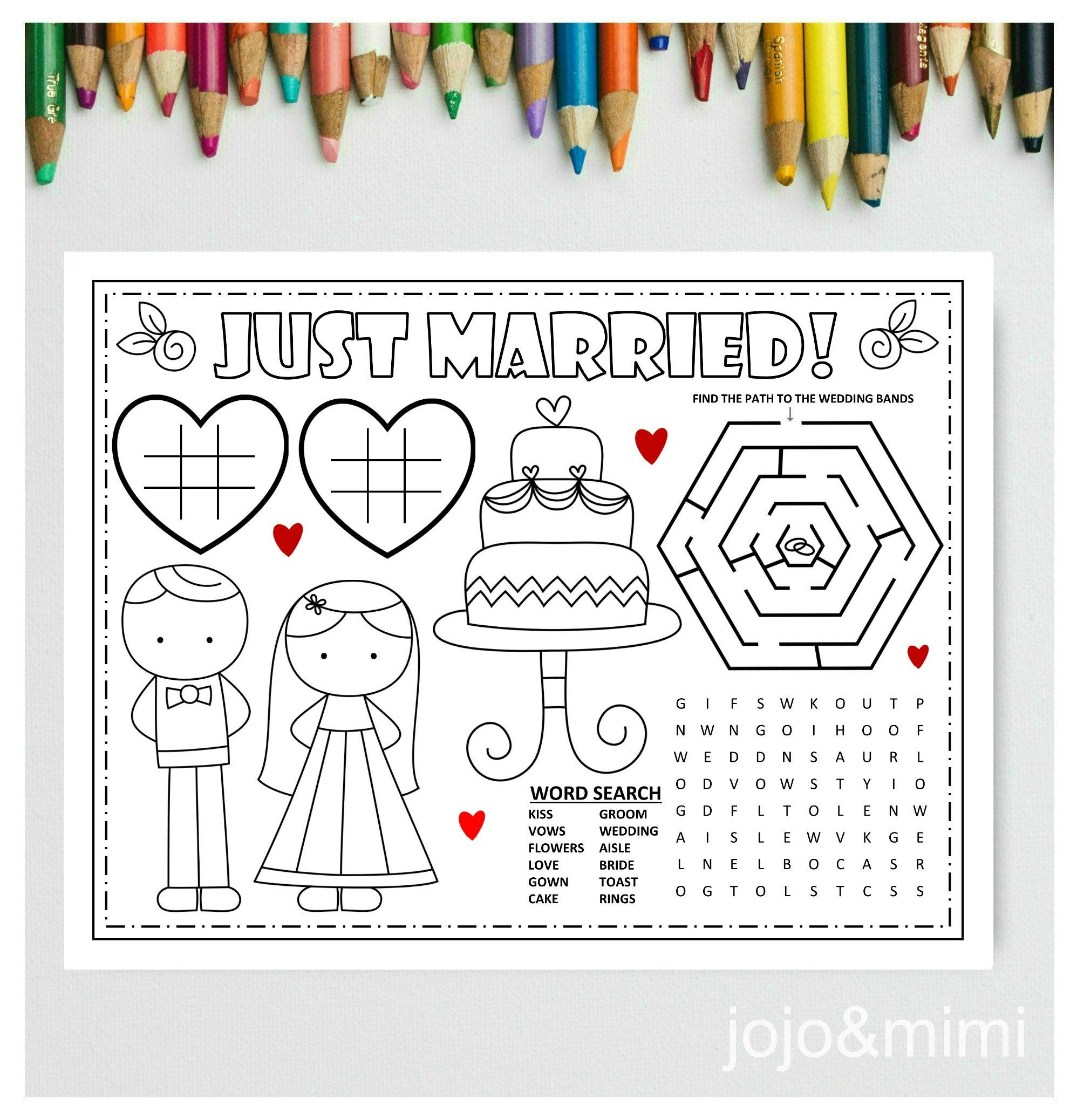 Wedding Printable Placemat Wedding Day Activity Kids Activity Etsy In 2020 Printable Placemat Wedding Coloring Pages Placemats Kids