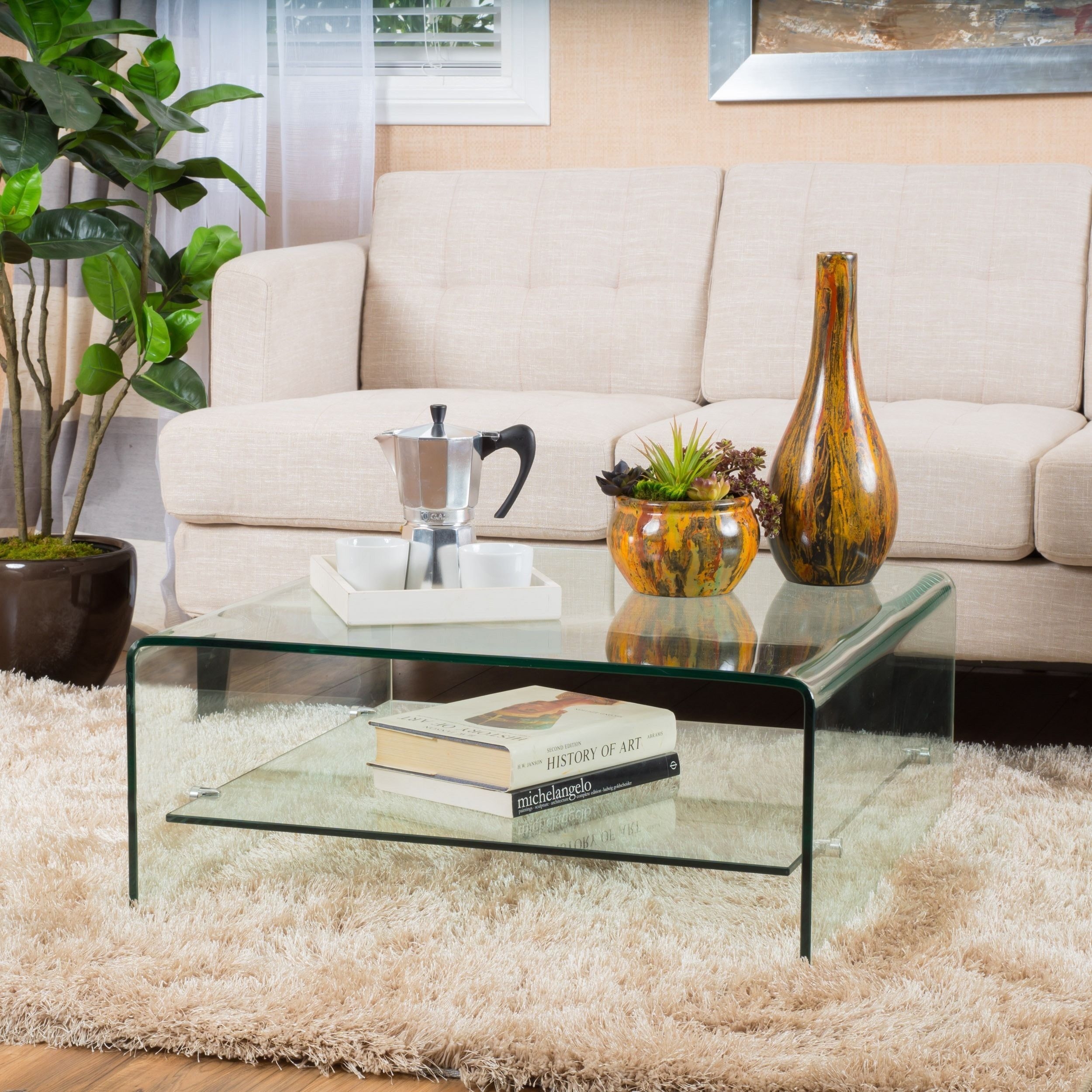 Ramona Square Glass Coffee Table With Shelf By Christopher Knight