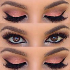 Maquillaje de noche para vestido color salmon