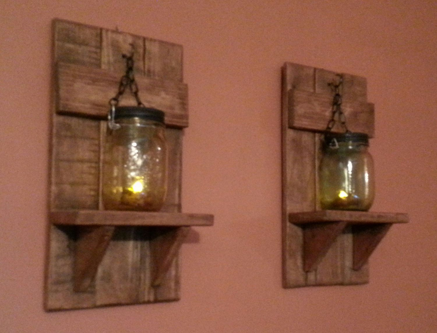 One has an amber colored mason jar that has been turned into a mason jar wall candle holders rustic candle holders country decor reclaimed wood candle holder priced 1 each amipublicfo Images