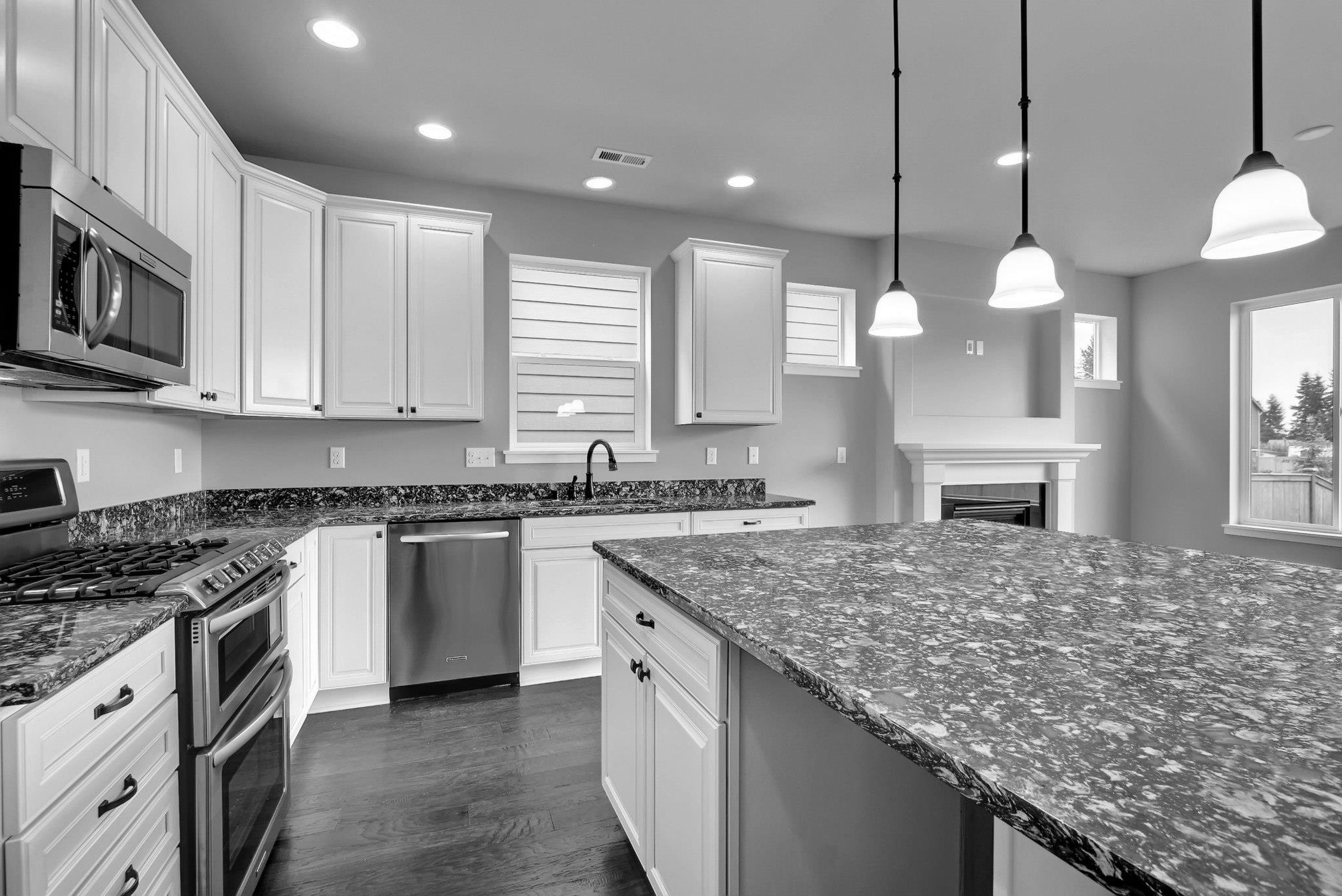 Kitchens With Gray Cabinets And Black Countertops Decorkeun