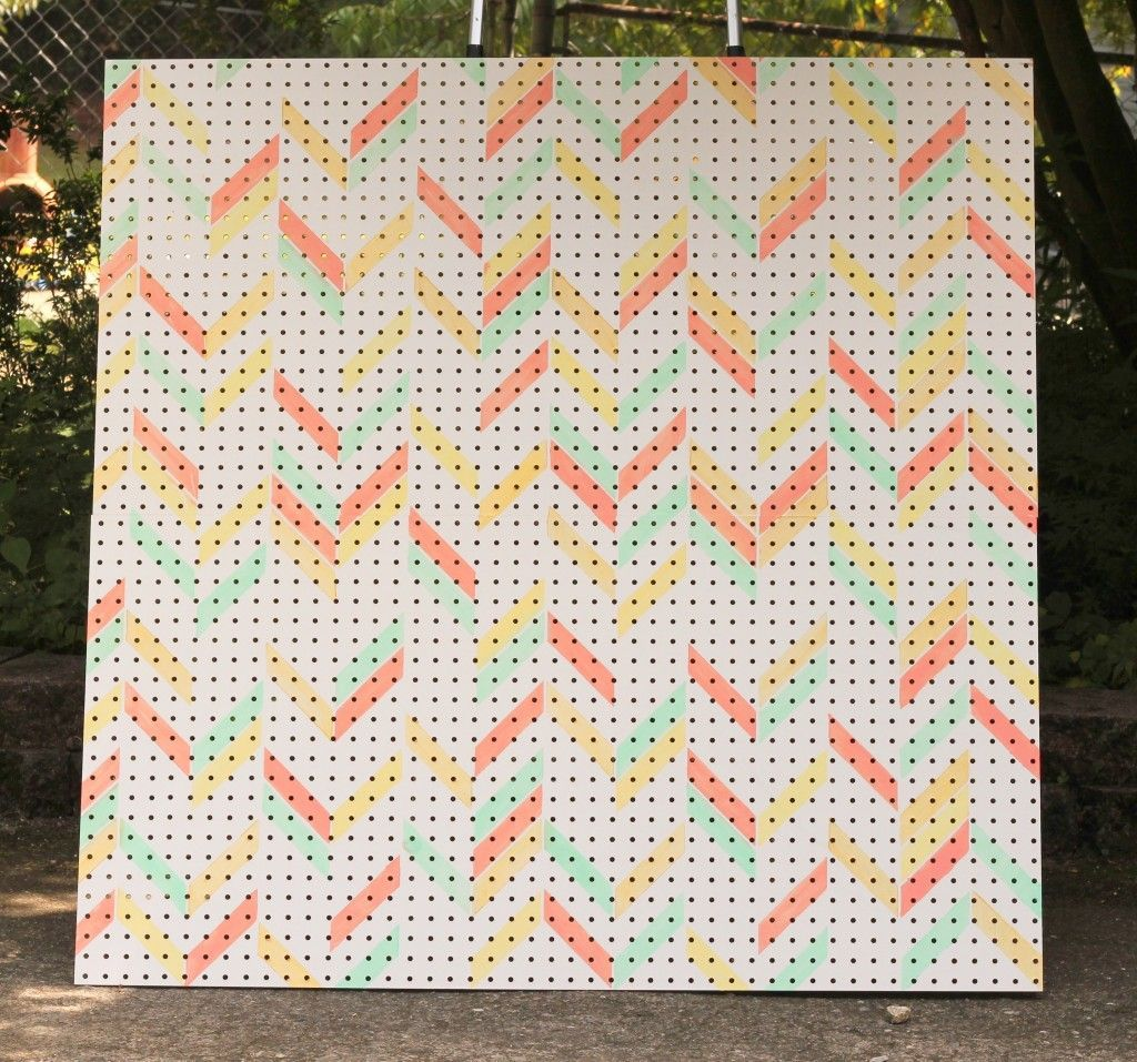 Photo of Herringbone stenciled pegboard for a girly garage workshop. You are at the right …