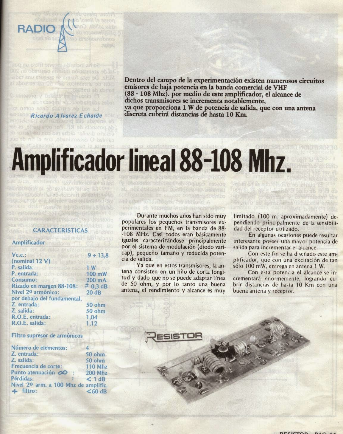 Radio Inestable Amplificador Fm 88 108 1w Revista Resistor N5 19 Low Pass Filter For Mhz