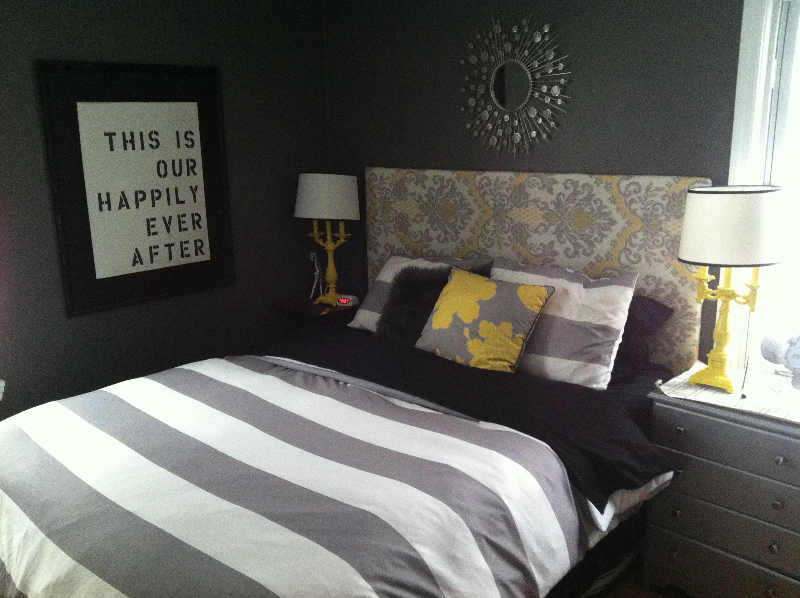 Master bedroom, gray and yellow