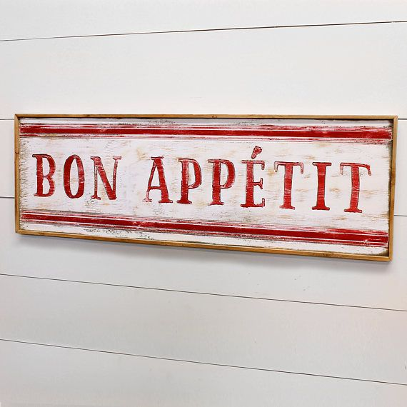Bon Appetit Sign Wooden Farmhouse Kitchen Sign Framed French Country Decor French Cafe Decor Kitchen Decor Signs French Cafe Decor French Country Decorating