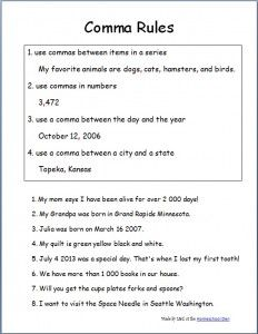 Comma Rules Worksheets | School Stuff | Pinterest | Worksheets ...