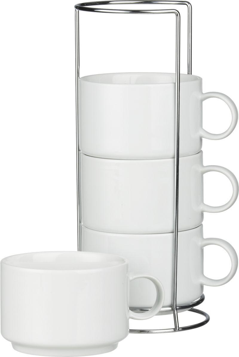 Set of 4 Jumbo Stacking Mugs with Metal Rack   Crate   interior ...