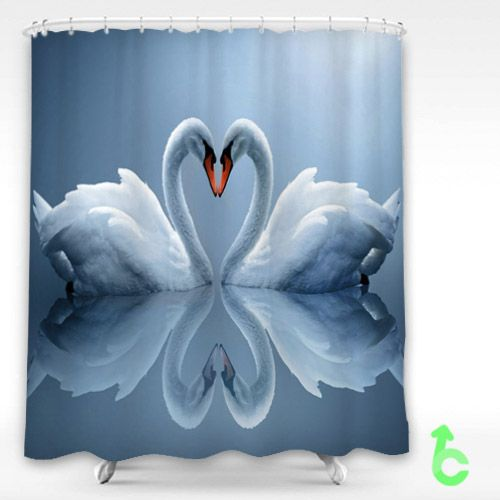 Swan Love Shower Curtain Shower Curtain By Customsbay Com Cheap Shower Curtains Curtains Shopping