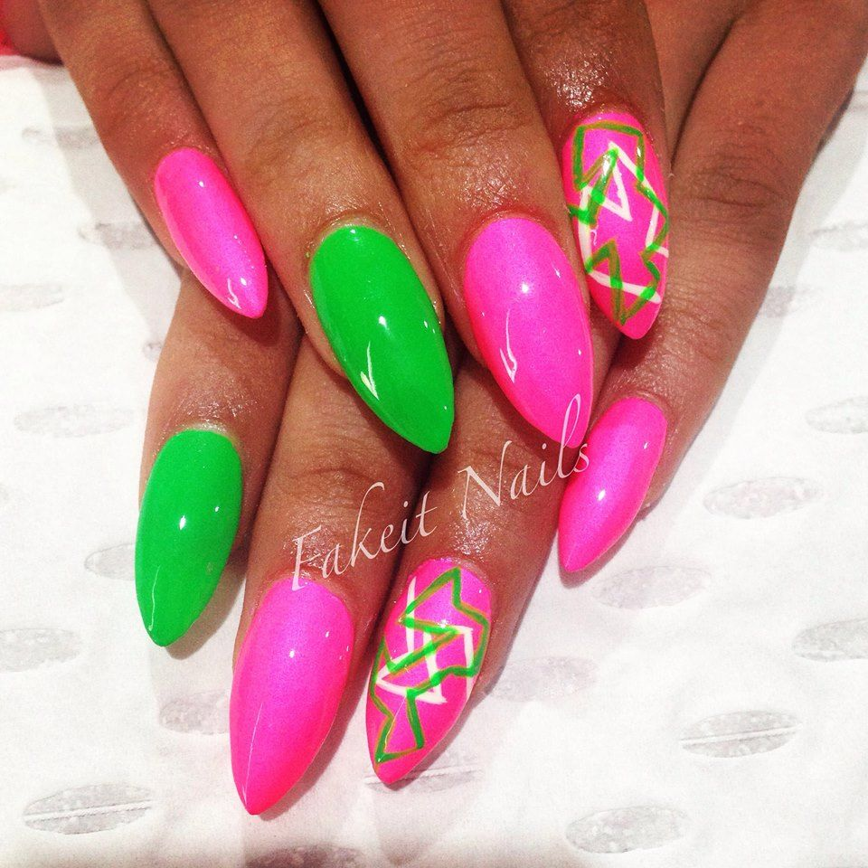 Pink Green Acrylic Nails With Bright Hand Painted Design By Fakeit Nails Sorority Nails Green Nails Green Acrylic Nails