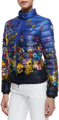 1a292661a Moncler Floral-Print Short Puffer Coat on shopstyle.com | Ski ...