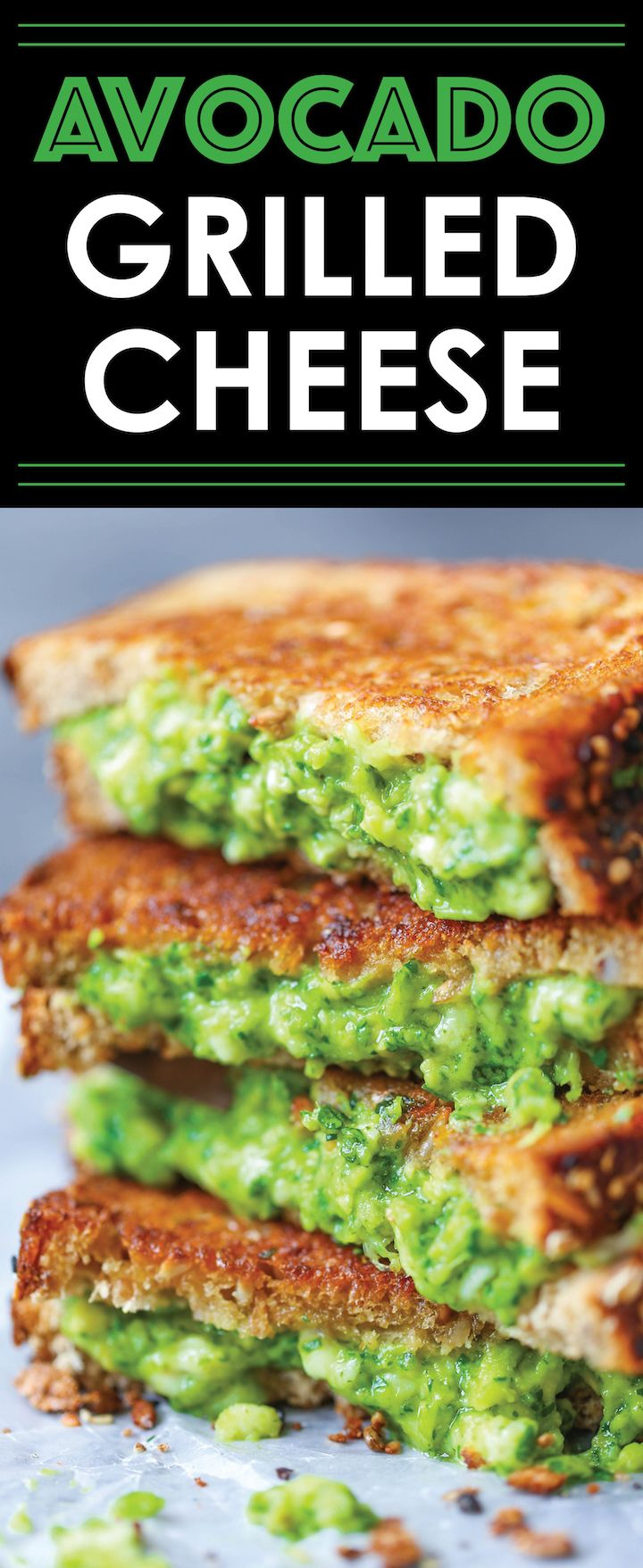 Avocado Grilled Cheese - So buttery and just downright AH-MAZING, oozing with avocado cheesy…