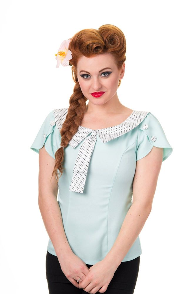 Banned BOW Vintage Collar 50s RETRO Bluse SHIRT - Mint Rockabilly ...
