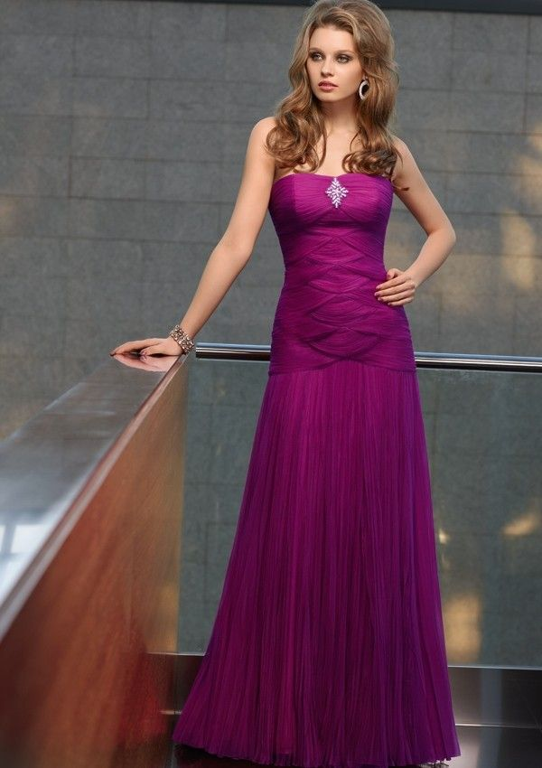 Strapless A-Line Floor Length Gown with Tulle Style 70606