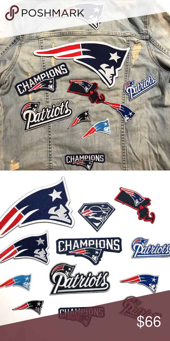 """New england patriots jersey patch 10"""" gillette iron on sew bag."""