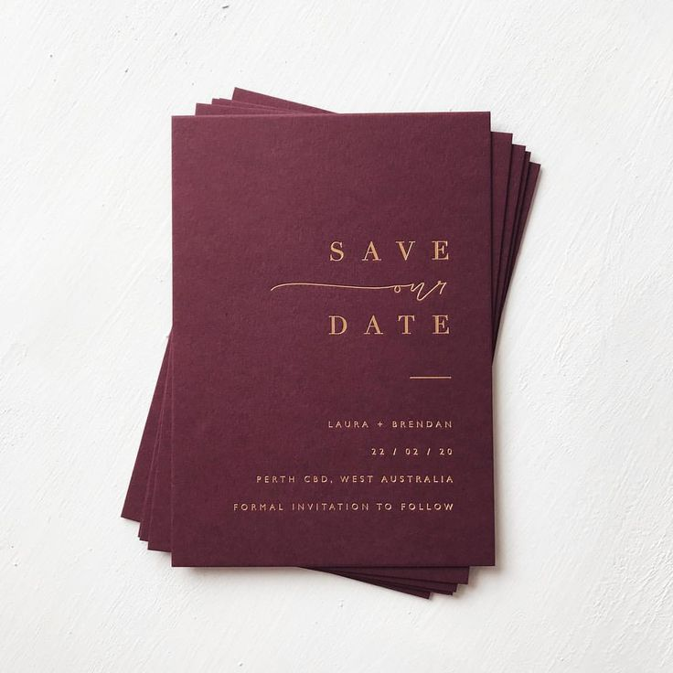 Matte gold foil and 550gsm burgundy super luxe save the ...