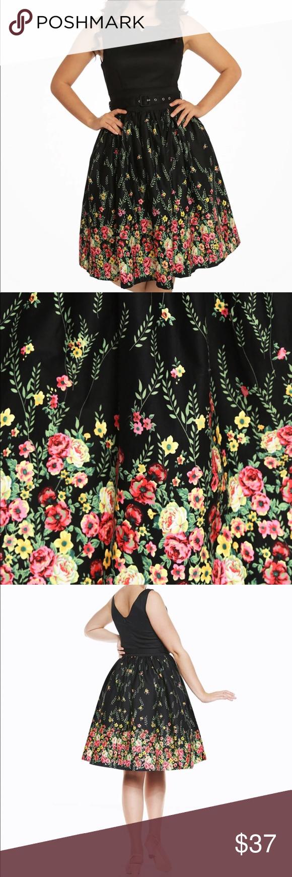 Lindy Bop Delta Fl Swing Dress Uk12 New From Size Chart Waist 30 3 Bust 36 6 Length 41 7 Dresses