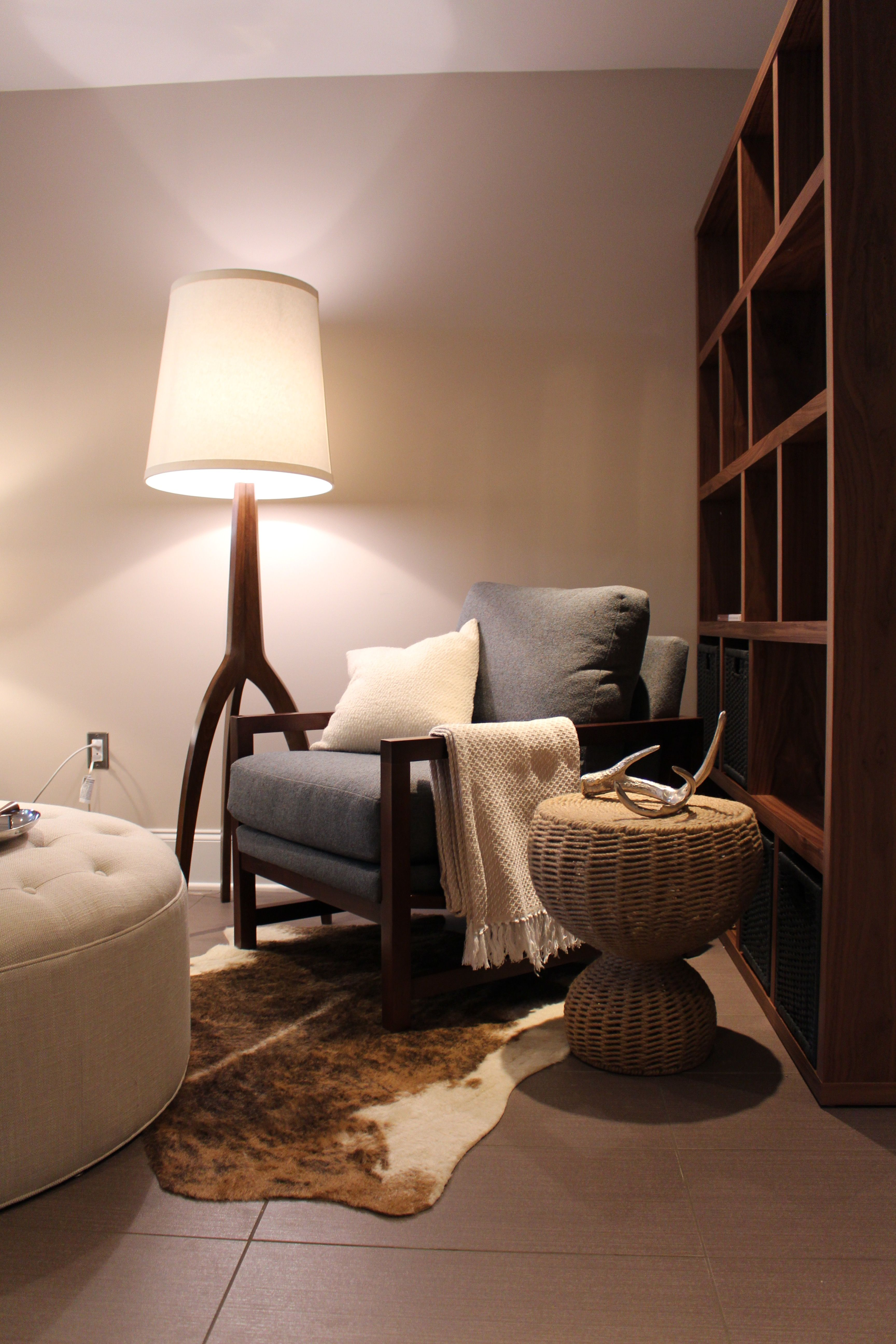 Basement with new paint, furniture, and accessories. (With