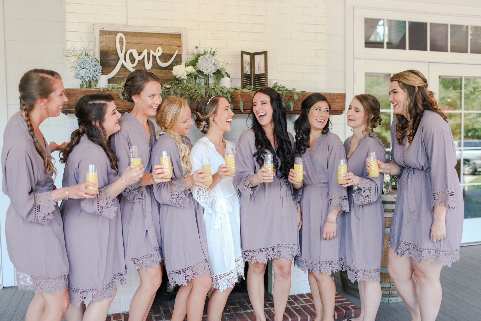 Lace Robes Bridesmaid - Bridal Party - Solid Cotton - Custom Monogrammed Personalized Embroidered Gift - Getting Ready Wedding Day