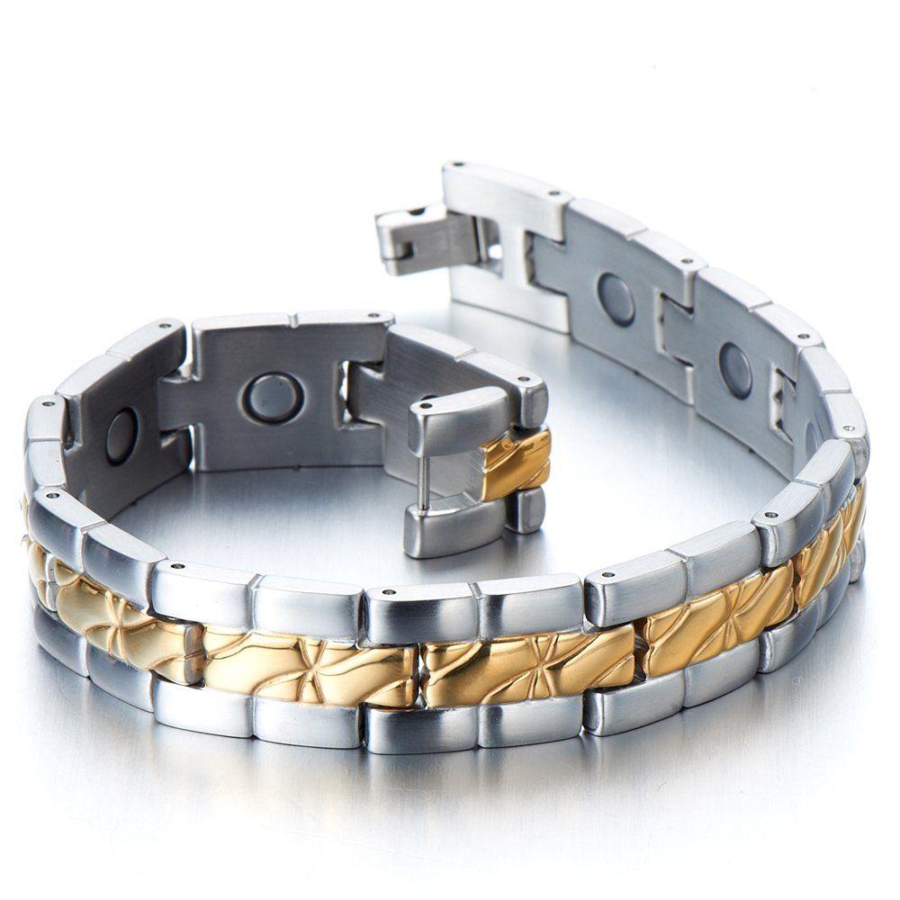 Stainless steel menus jewelry magnetic bracelet link gold silver