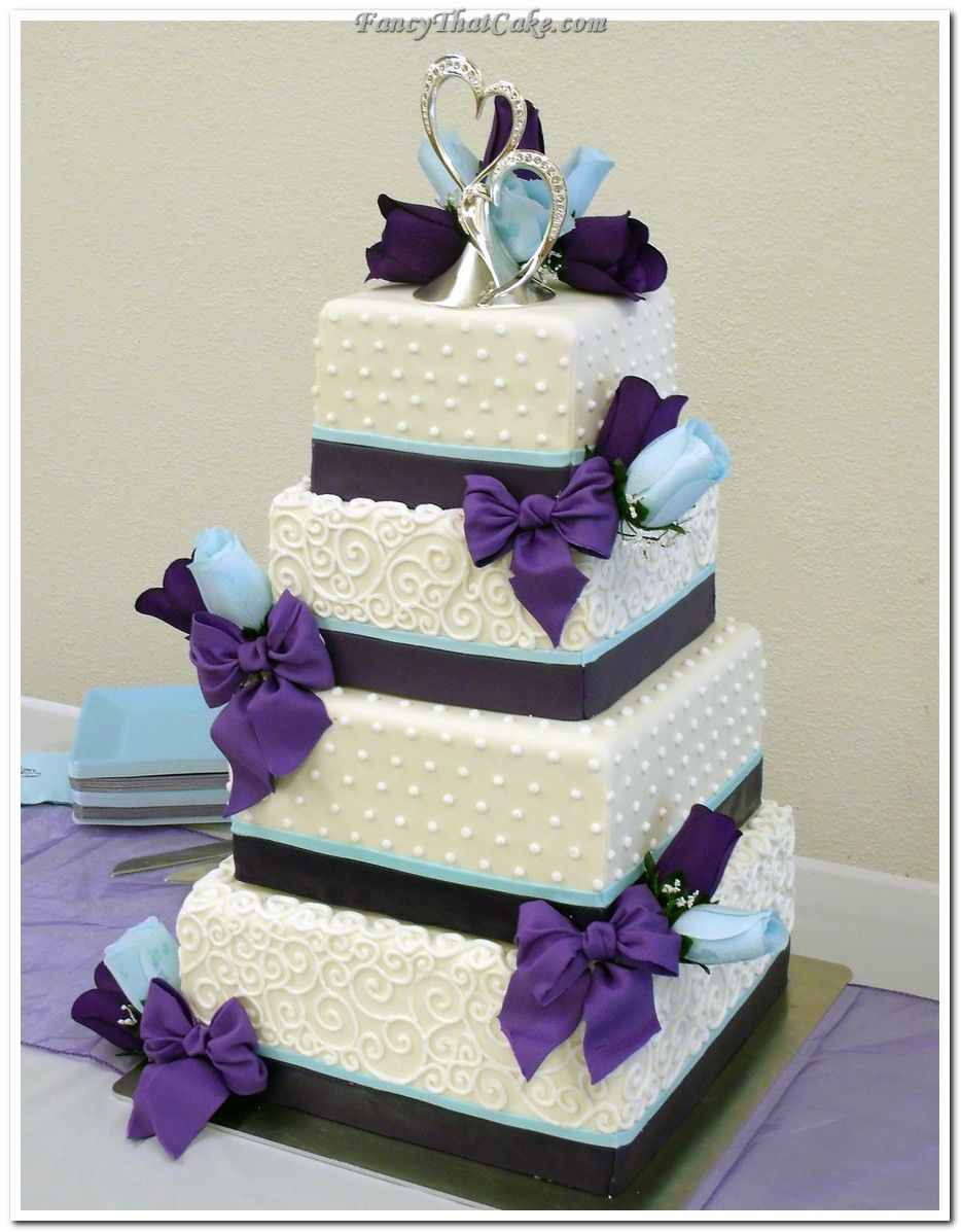 square and round wedding cakes with pipping | Sarah\'s Purple and ...