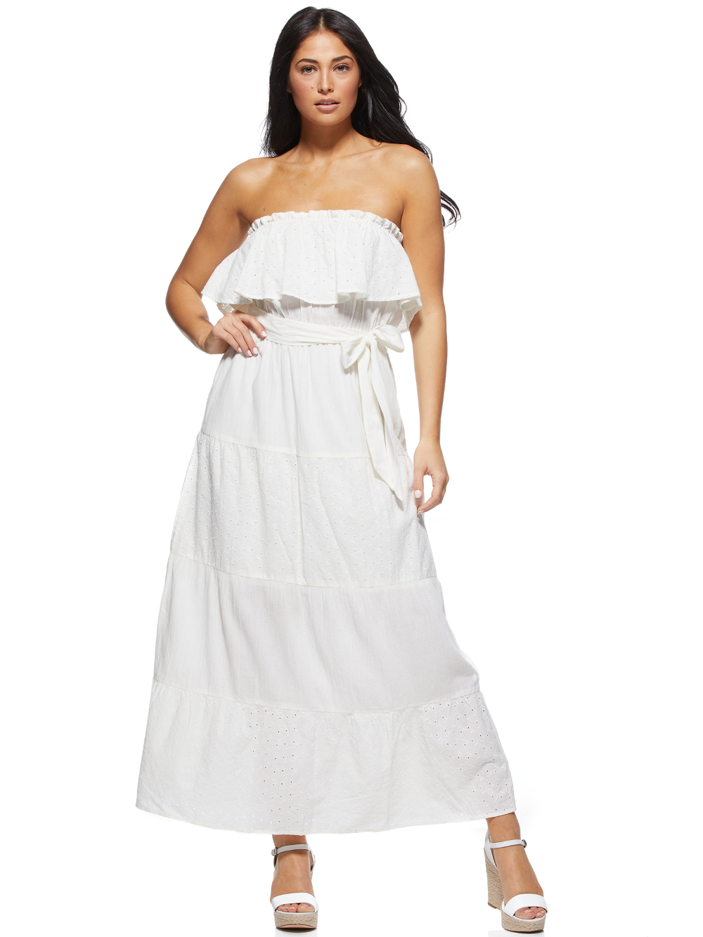 Free 2 Day Shipping Buy Sofia Jeans By Sofia Vergara Tiered Off The Shoulder Maxi Dress Women S At Walmart Co Eyelet Maxi Dress White Dress Summer Maxi Dress [ 1333 x 1000 Pixel ]