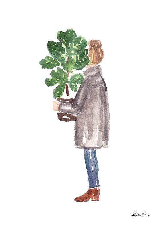 Photo of Fiddle Leaf Fig Illustration – Plant mom gift, houseplant, plant watercolor, botanical illustration, fashion illustration, plant lover gift