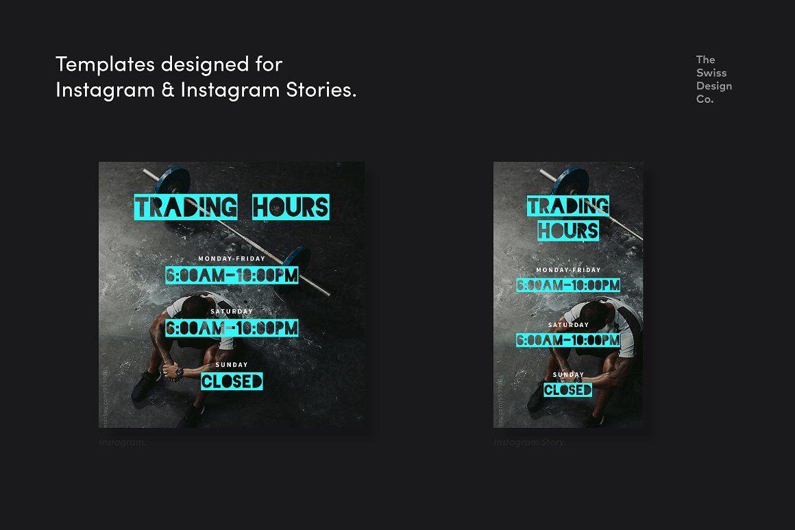 True Grit Fitness Social Media Kit Media Kit Instagram Template Template Design