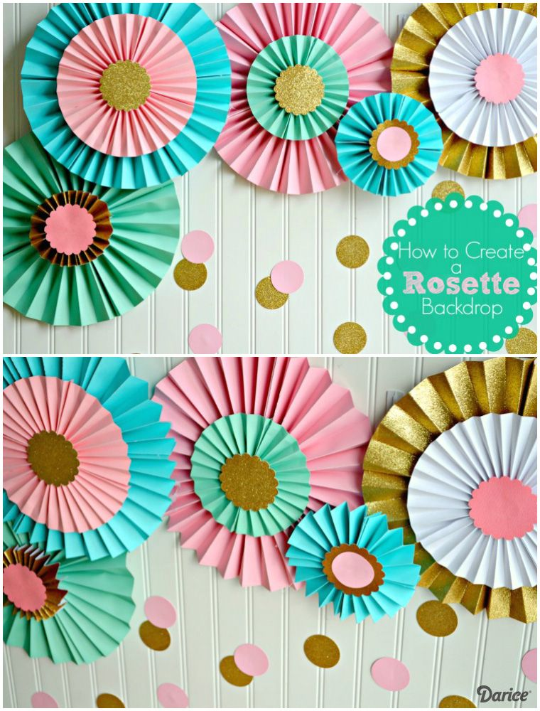 How to make paper rosettes birthday backdrop darice baby shower pinterest diy party decorations and also rh