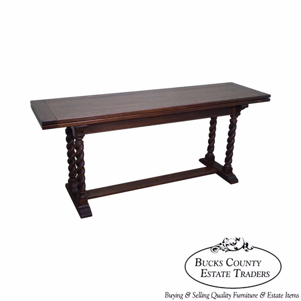 Ethan allen royal charter oak long flip top console table royal ethan allen royal charter oak long flip top console table geotapseo Image collections