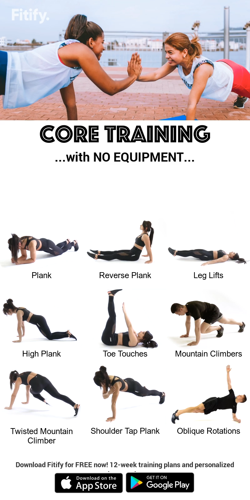 Core Training with NO EQUIPMENT Exercises to build stability