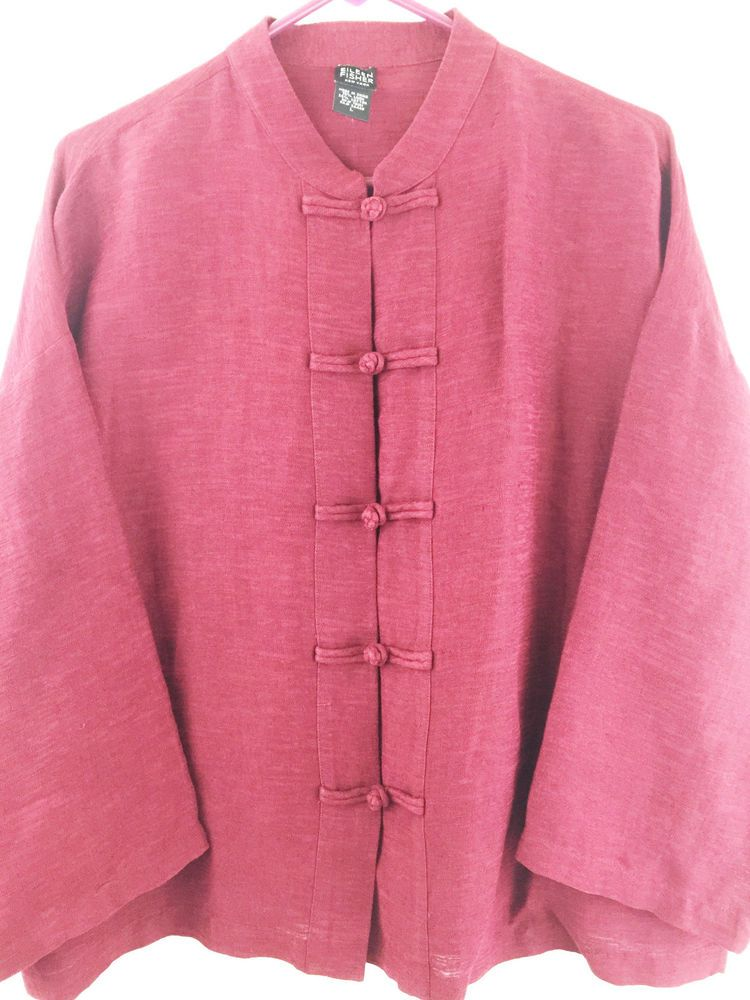 131e1d872ba Eileen Fisher  Asian  KnotButton Linen Top.  EileenFisher size Large ...
