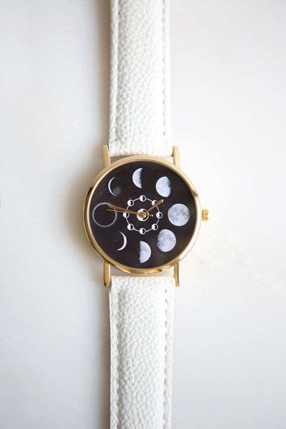 Lunar Phase Watch (White), Moon Watch, Moon Phase Watch, Women Watches, Womens Watches, Women's Watches, Women Watch, Women's Watch