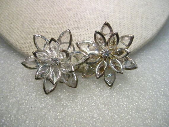 Vintage Clear Marquis Cut Rhinestone Floral Clip by stampshopgirl