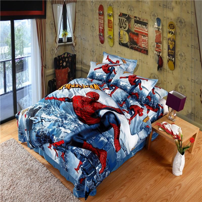 Spider Man Cartoon Boy Girl Kids 3d Bedding Sets 100 Cotton Bed
