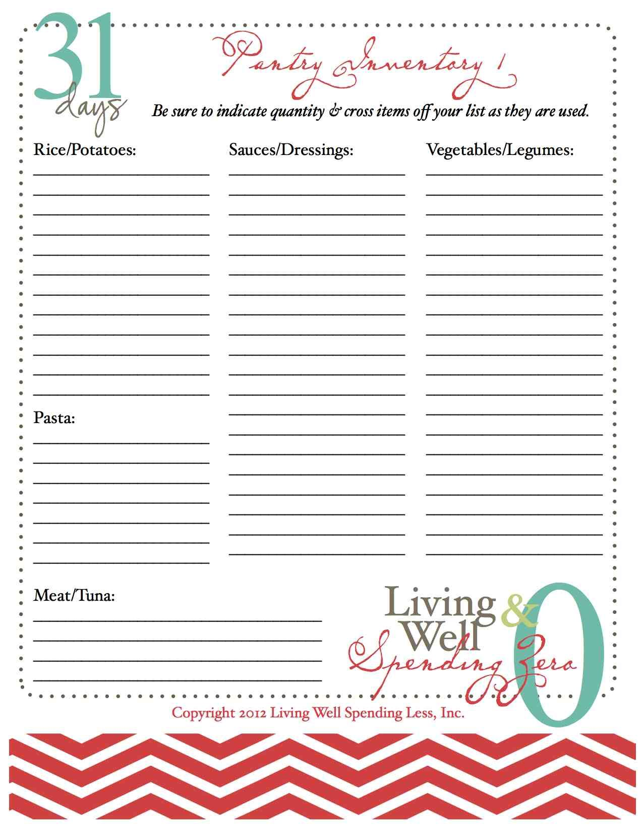 Pantry And Freezer Inventory Sheets