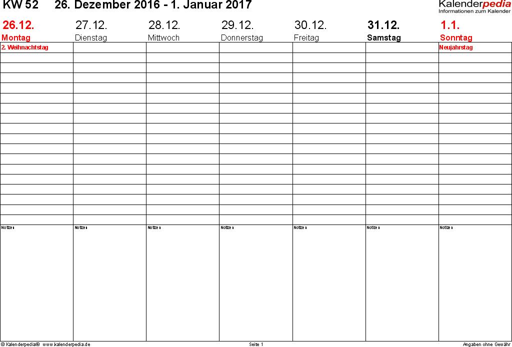 Vorlage 2: Wochenkalender 2017 als PDF-Vorlage, Zeitmanagement ...