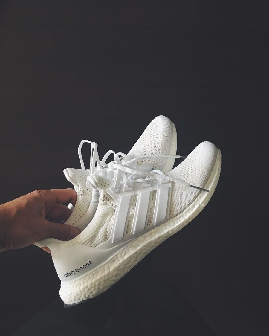 6de8d99cf61e2 ADIDAS Ultra Boost in a clean  Triple White  colorway!