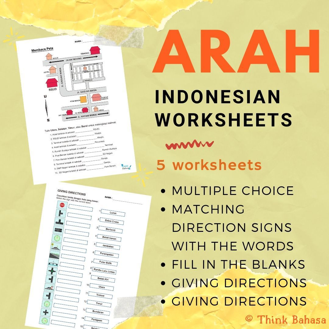 Directions In Indonesian Worksheets Amp Answer Keys