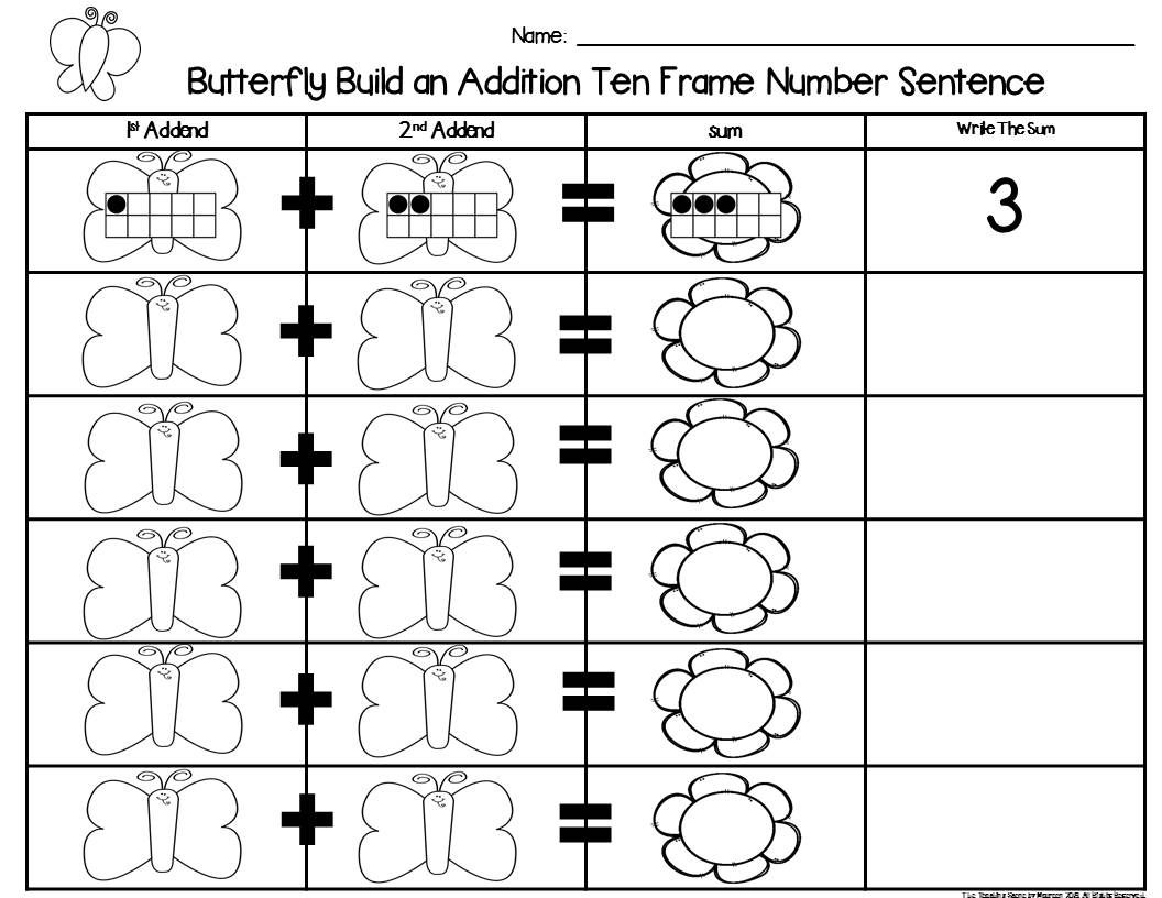 Butterfly 2 Addend Addition Amp Subtraction With Ten Frames