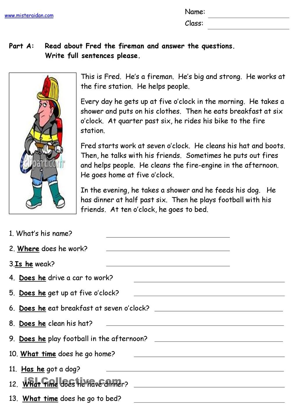 Worksheets Reading Comprehension Worksheets College fred the fireman reading comprehension school pinterest worksheet free esl printable worksheets made by teachers