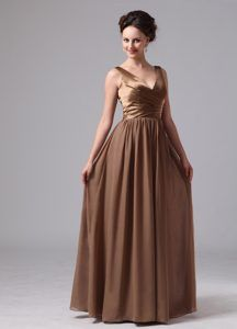 Elegant Brown V-neck Long Pageant Dress Patterns Made in Satin and Chiffon