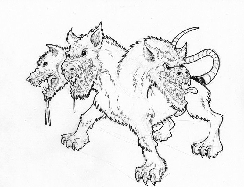 Cerberus Greek Mythology Line Art Bing Images Dragon Coloring