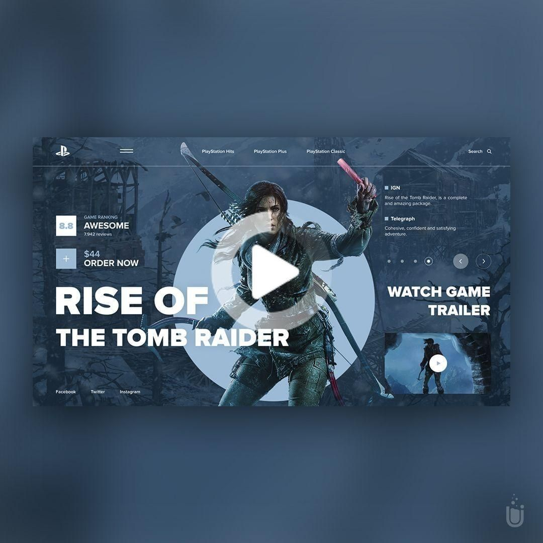 Web Design Inspiration On Instagram Rise Of The Tomb Raider Design By Vitalyve In 2020 Web Design Inspiration Web Design Inspiration Portfolio Rise Of The Tomb