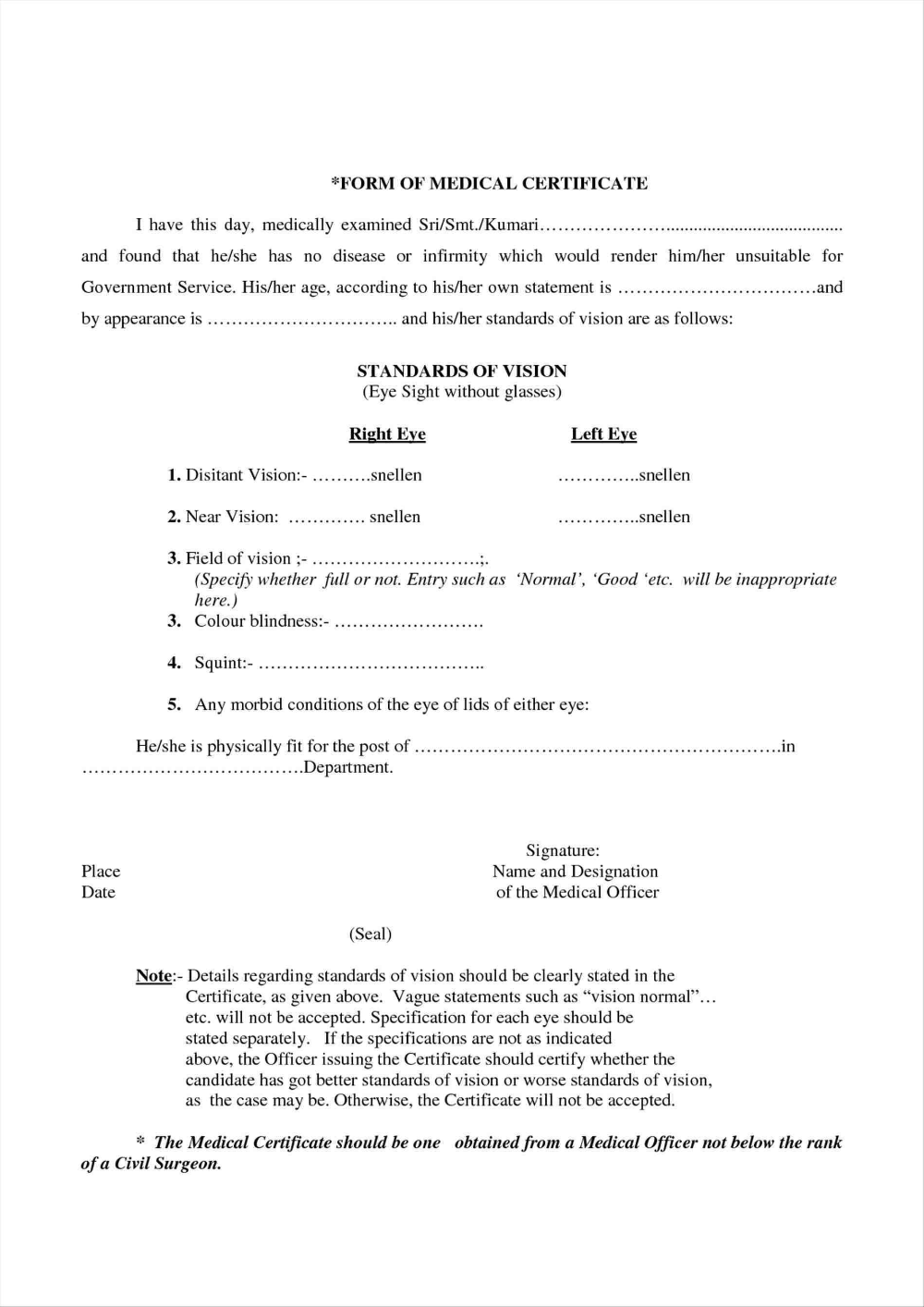 Medical Certificate Templates For Leave Pdf Doc Free