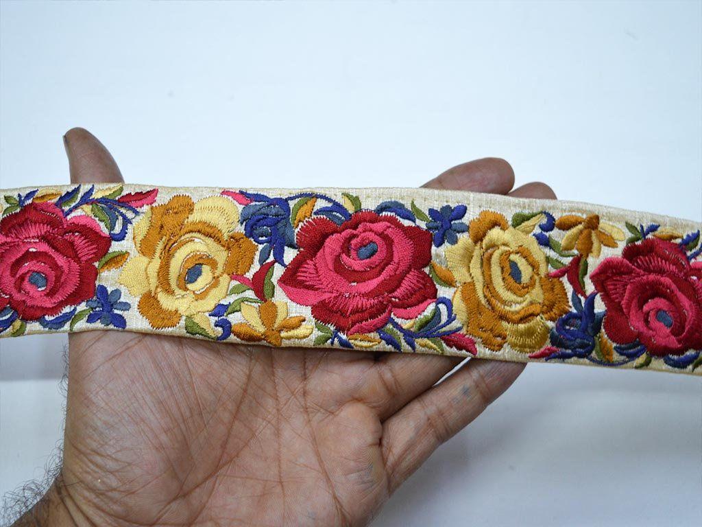Maroon Embroidery Decorative Saree Border Indian Lace Sari Trim By