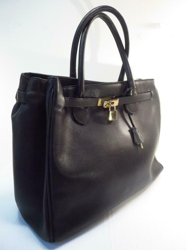 39b8989e1de0 Black Leather Birkin Style Lock Key Tote Shoulder Bag * #BottegaVeneta  #ShoulderBag